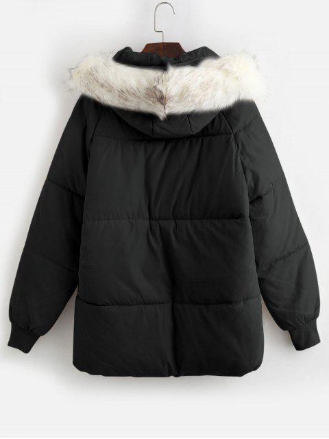 chic Flap Pocket Puffer Coat with Faux Fur Hood - BLACK L Mobile