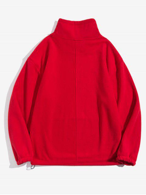 Sólido Carta bordado bolsillo de la bolsa Fleece con capucha - Rojo M Mobile