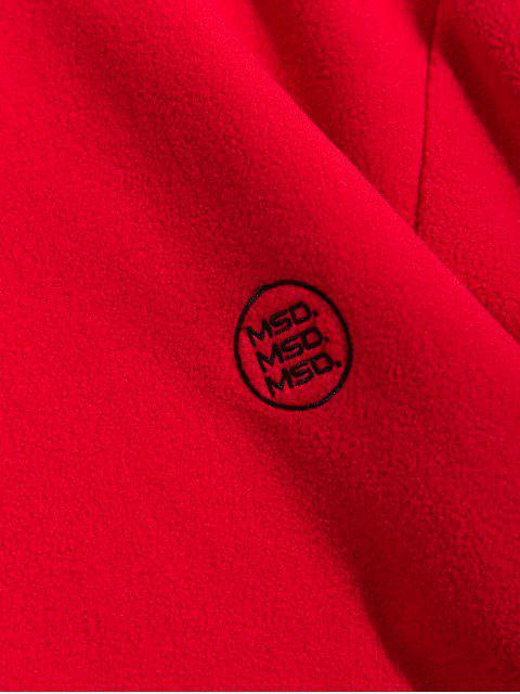 Sólido Carta bordado bolsillo de la bolsa Fleece con capucha - Rojo 2XL Mobile