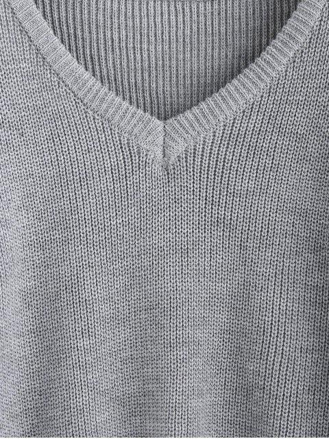 affordable ZAFUL X Luna Montana V Neck Drop Shoulder Plain Jumper Sweater - GRAY GOOSE S Mobile