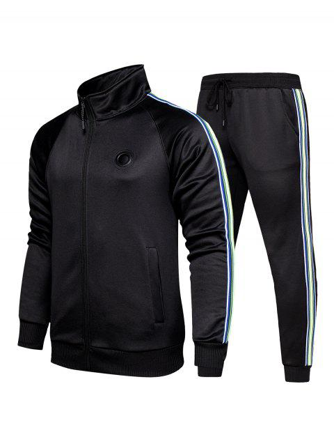 buy Striped Zipper Two Piece Gym Outfits - BLACK L Mobile