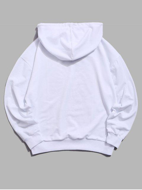 chic Sun Letter Graphic Drawstring Hoodie - WHITE 2XL Mobile