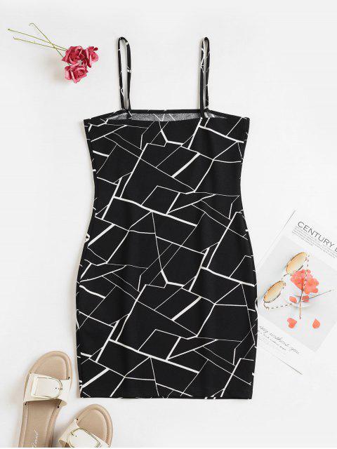 ZAFUL Mini Vestido Ceñido de Geométrico - Negro S Mobile