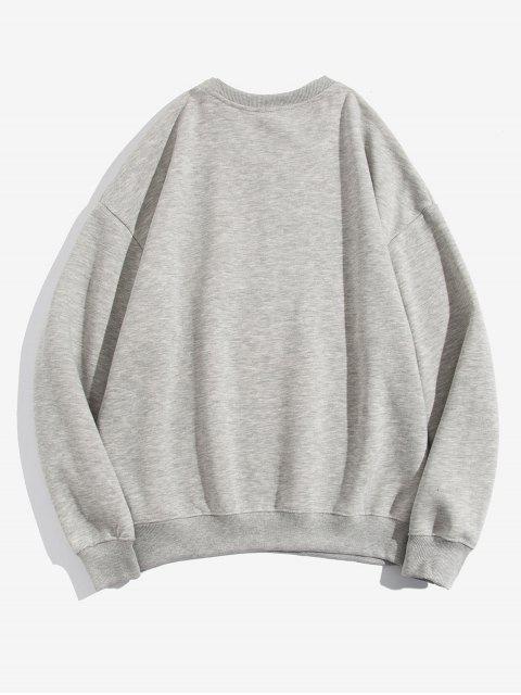 Venecia de impresión de letras Fleece con capucha - Gris XL Mobile