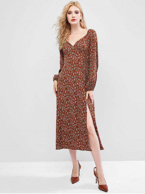 women ZAFUL Ditsy Print Sweetheart Slit Long Sleeve Dress - SEPIA XL Mobile
