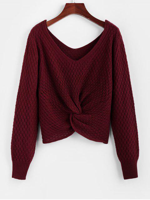 ZAFUL cuello en V Twisted Jumper suéter - Vino Tinto M Mobile