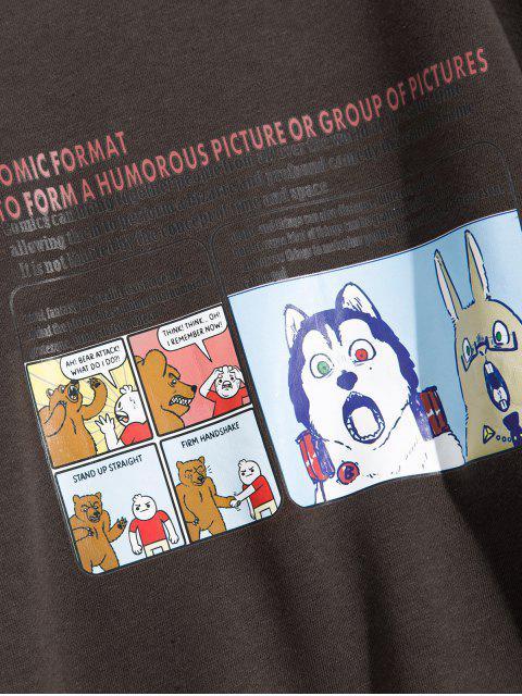 Cartoon Tier Grafik Buchstabe Druck Vlies Sweatshirt aus Flecce - Kaffee 2XL Mobile