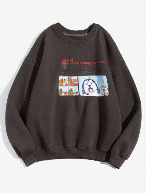 Karikatur Tier Grafik Buchstabedruck Fleece Sweatshirt - Kaffee XL Mobile