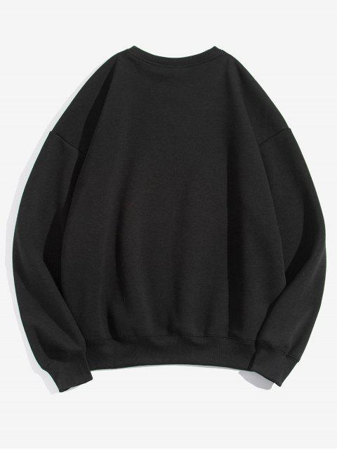 Karikatur Tier Grafik Buchstabedruck Fleece Sweatshirt - Schwarz M Mobile