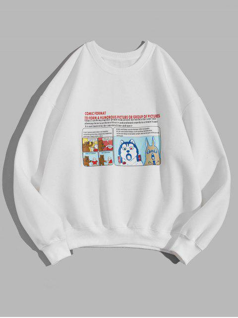 Karikatur Tier Grafik Buchstabedruck Fleece Sweatshirt - Weiß XL  Mobile