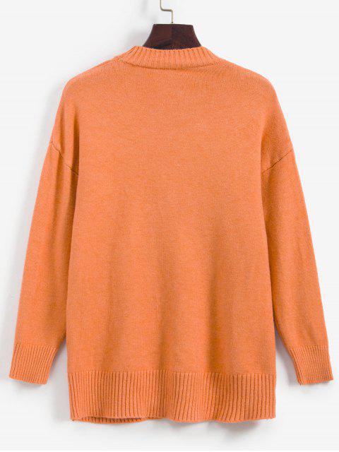 Suéter bordado de Fruta e Ombro Caído - Laranja Um Tamanho Mobile