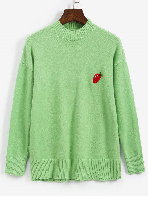 Suéter bordado hombro fruta gota - Verde Talla única Mobile