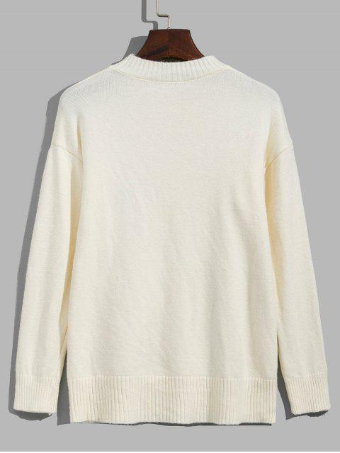 Suéter bordado de Fruta e Ombro Caído - Branco Quente Um Tamanho Mobile