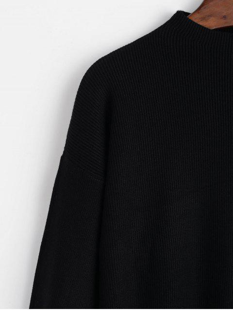 sale Crew Neck Drop Shoulder Lantern Sleeve Sweater - BLACK ONE SIZE Mobile