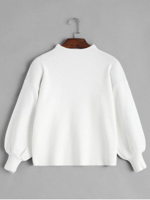 buy Crew Neck Drop Shoulder Lantern Sleeve Sweater - WHITE ONE SIZE Mobile