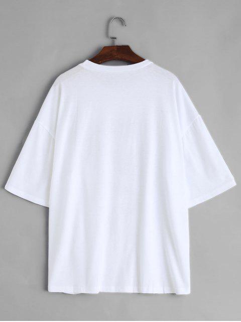 T-shirt Dragon Imprimé Manches Courtes à Col Rond - Blanc S Mobile