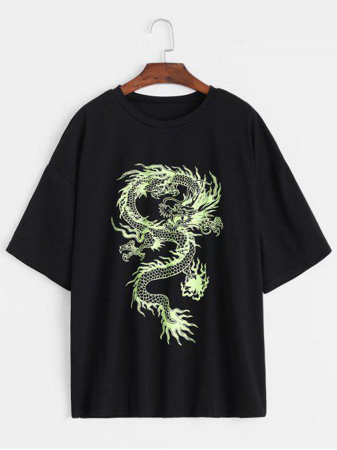 trendy Dragon Print Round Neck Short Sleeves Tee - BLACK M Mobile