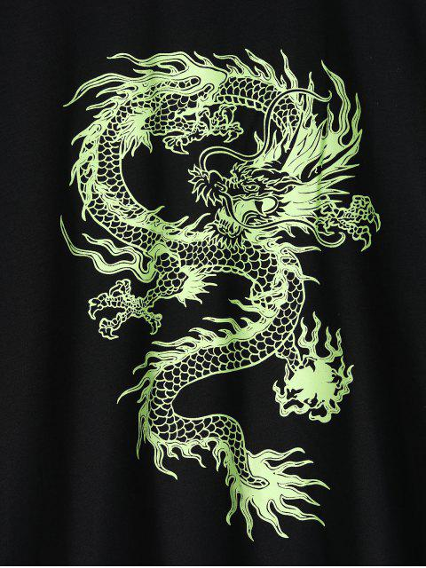 Kurzärmliges T Shirt mit Drachendruck - Schwarz XL Mobile