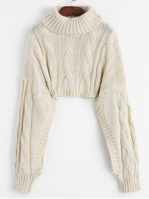 shops Cable Chunky Knit Crop Drop Shoulder Sweater - WARM WHITE ONE SIZE Mobile