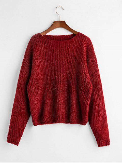 Drop Schulter Schlichter Lose Sweater - Rot Eine Größe Mobile