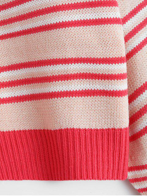 outfits Mock Neck Stripe Drop Shoulder Sweater - PINK ONE SIZE Mobile
