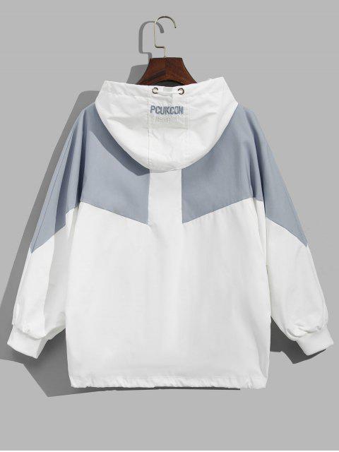 Sweat à Capuche Zippé Bicolore à Manches Chauve-souris avec Poche - Bleu-gris M Mobile