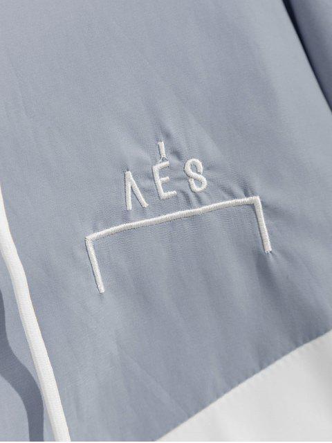 Kapuze Zweifarbige Tasche Fledermaus Ärmel Reißverschluss Jacke - Blaugrau XL Mobile