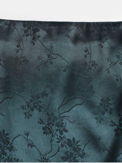 ZAFUL Voltar Zipper Floral Jacquard Slit Mini Saia - Verde Médio do Mar XL Mobile