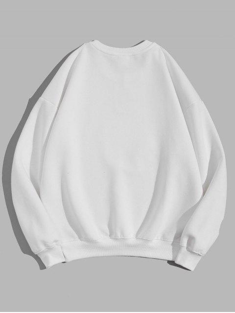 幾何圖形打印休閒衛衣 - 白色 3XL Mobile