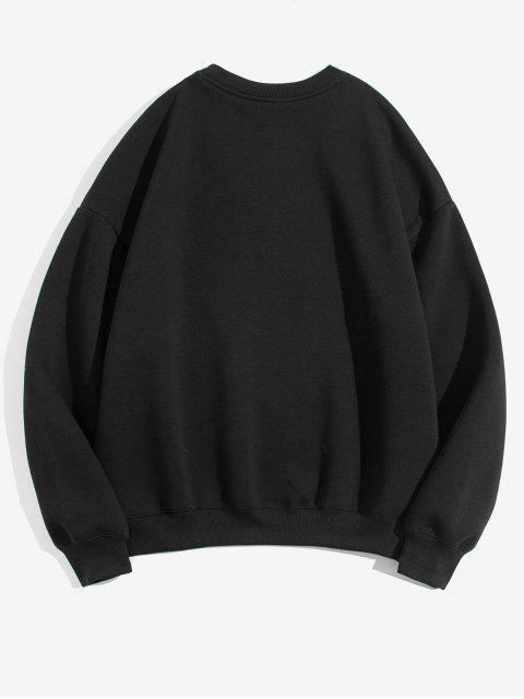 Casual Sweatshirt aus Schafwolle mit Geometrischem Grafik Druck - Schwarz 3XL Mobile