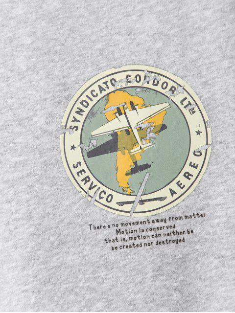 幾何圖形打印休閒衛衣 - 灰色 XL Mobile
