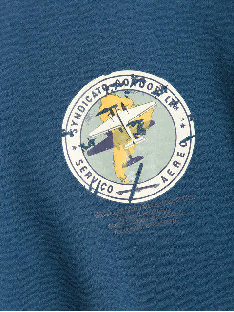 幾何圖形打印休閒衛衣 - 藍色 XL Mobile