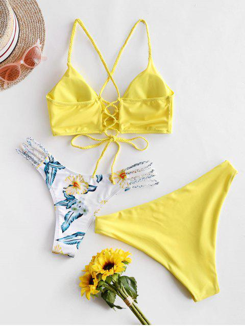 outfit ZAFUL Flower Braided Lace Up Three Pieces Bikini Swimsuit - YELLOW M Mobile