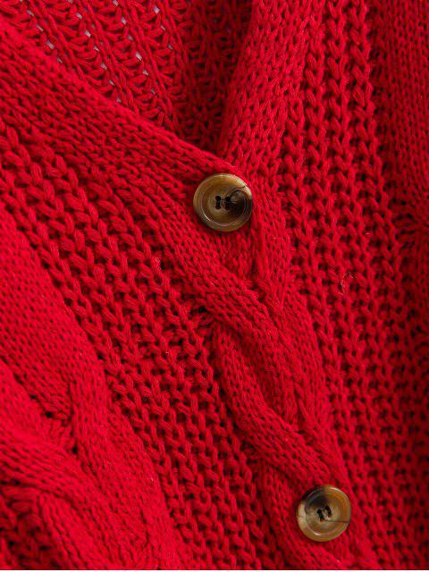 Kabel Grob Gestrickte Raglanärmeln Strickjacke - Rot Eine Größe Mobile