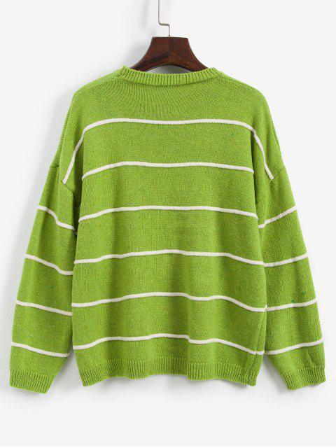 Gestreifte Tropfen Schulter Freund Pullover - Grün Eine Größe Mobile