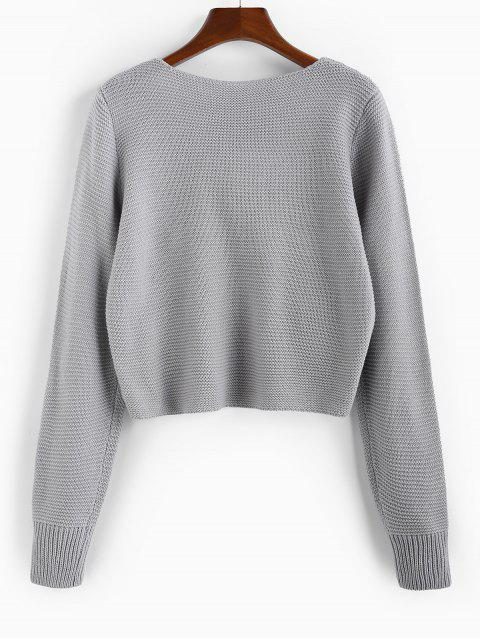 shop ZAFUL Twisted Plunging Jumper Sweater - GRAY GOOSE L Mobile