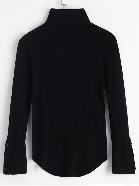 outfit Turtleneck Buttoned Cuff Slim Sweater - BLACK ONE SIZE Mobile
