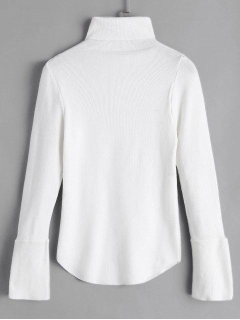 Stehkragen Geknöpfte Manschette Dünne Strickjacke - Weiß Eine Größe Mobile