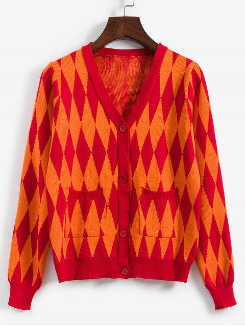 Argyle Knit-Knopf Vordere Tasche Strickjacke - Orange Eine Größe Mobile