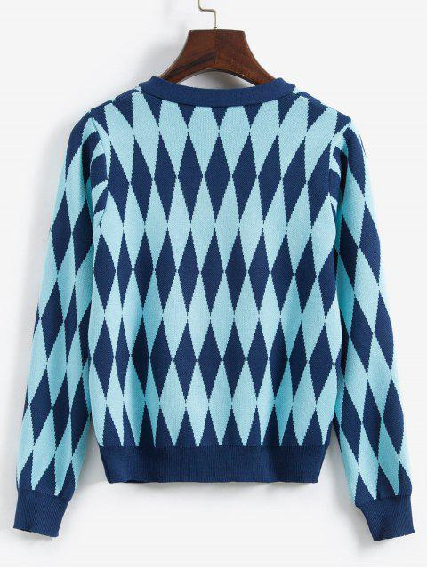 雅閣針織按鈕前口袋外套 - 藍色 One Size Mobile