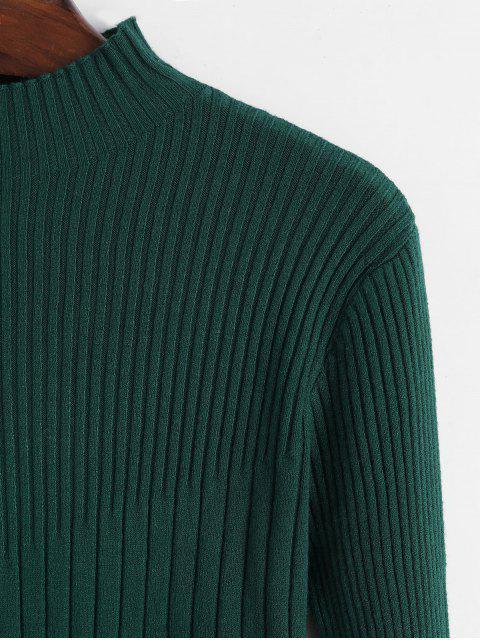 修身羅紋高領毛衣 - 綠色 One Size Mobile