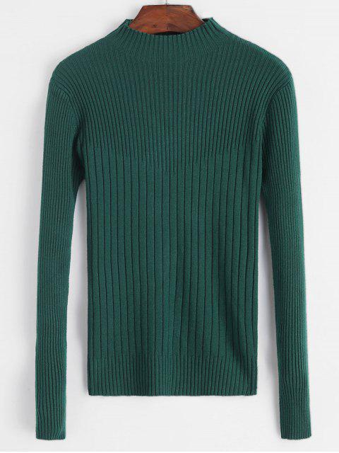 Gerippte Dünne Hohe Neck Pullover - Grün Eine Größe Mobile