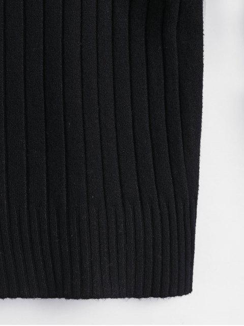 修身羅紋高領毛衣 - 黑色 One Size Mobile