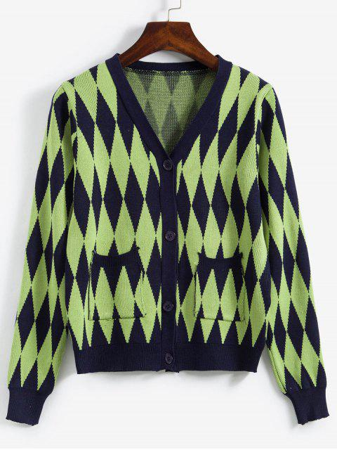 Argyle Knit-Knopf Vordere Tasche Strickjacke - Grün Eine Größe Mobile