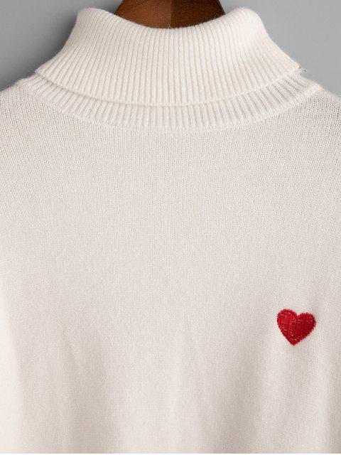 Herz Gestickter Drop Schulter Rollkragen Pullover - Weiß Eine Größe Mobile