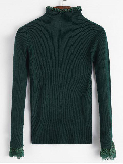 best Lace Ruffle Cuff Ribbed Slim Sweater - GREEN ONE SIZE Mobile