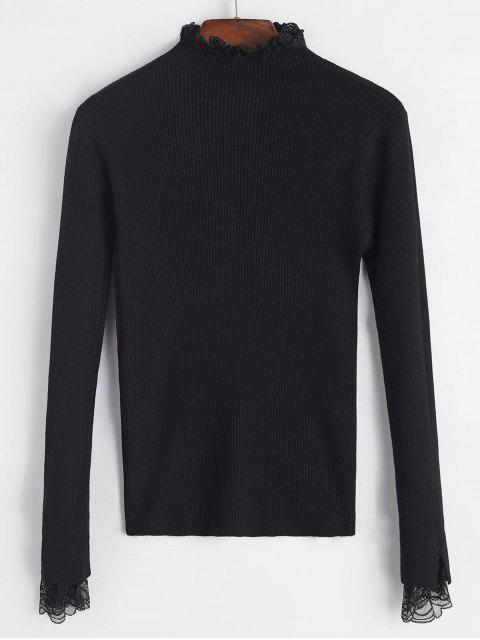 蕾絲荷葉邊袖口羅紋修身毛衣 - 黑色 One Size Mobile