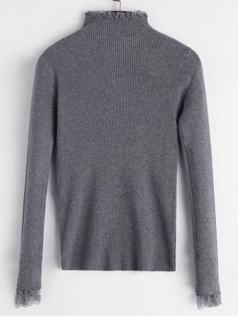 蕾絲荷葉邊袖口羅紋修身毛衣 - 灰色 One Size Mobile