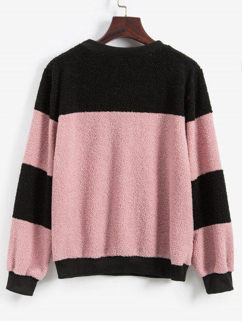雙色蓬鬆泰迪毛衣外套 - 粉 S Mobile