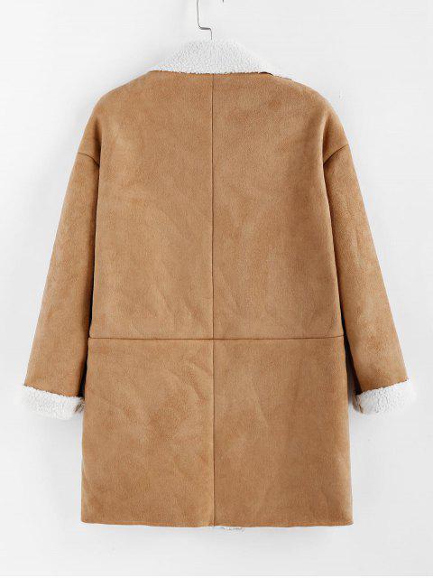 ZAFUL Manteau Peau de Serpent avec Poche en Faux Daim à Bouton Pression - Bronze S Mobile